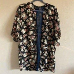 Womens Floral Lace Sheer Kimono Black Cover Up